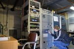 A view inside the WREK transmitter shack, where chief engineer Daniel Smith checks out the main transmitter, Janice.