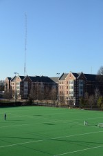 Our tower and 12-bay Jampro broadcast antenna, located on west campus and as seen from over the SAC fields.