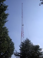 Here you can see the reinforcement crew rigged to the tower with our old antenna still attached.