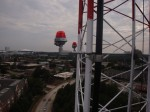 Here are our new LED obstruction lights as installed halfway up the tower.