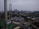 A view of downtown from the top of our 320 ft tower.  On the left is part of the W4AQL amateur radio repeater.