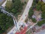 Looking down at the antenna